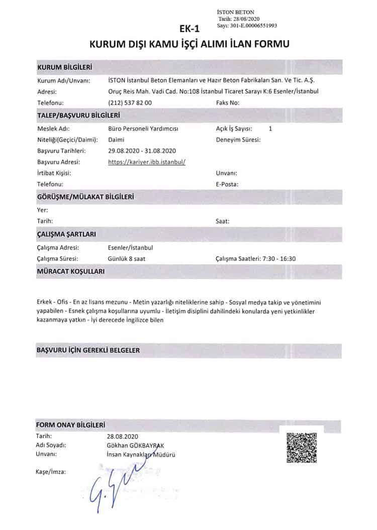 İBB İSTON Büro Personeli Yardımcısı ilanı