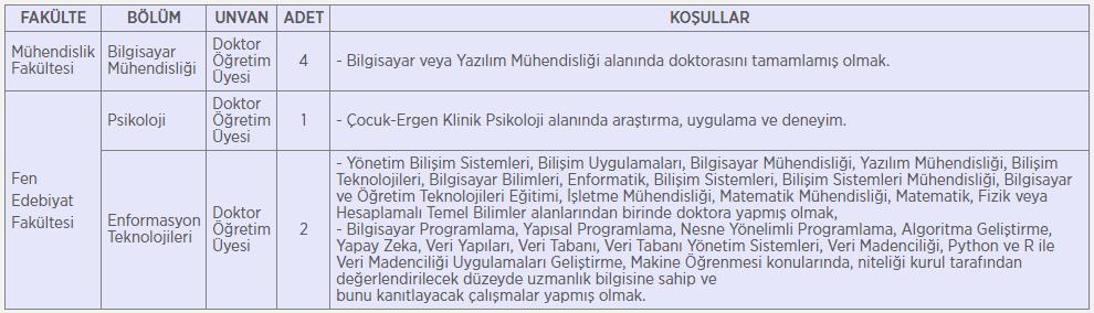 Işık Üniversitesi 7 Öğretim Üyesi Alım İlanı