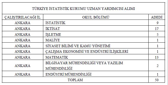 Türkiye İstatistik Kurumundan 50 Uzman Yardımcısı İlanı