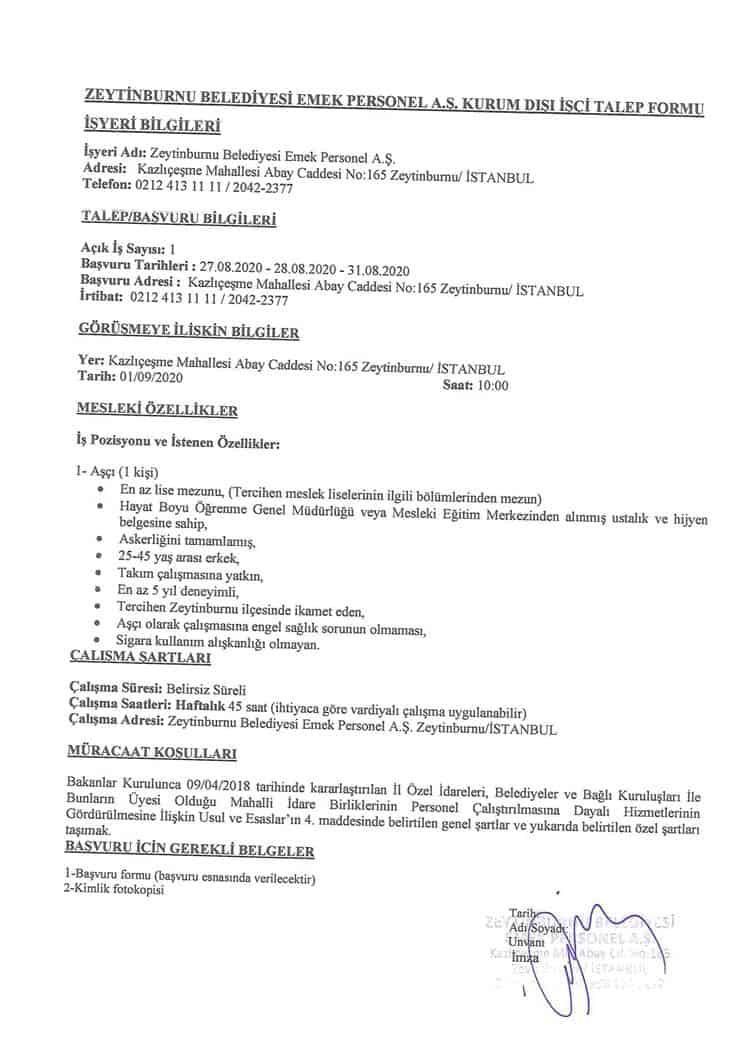 zeytinburnu belediyesi 1 personel alım ilanı