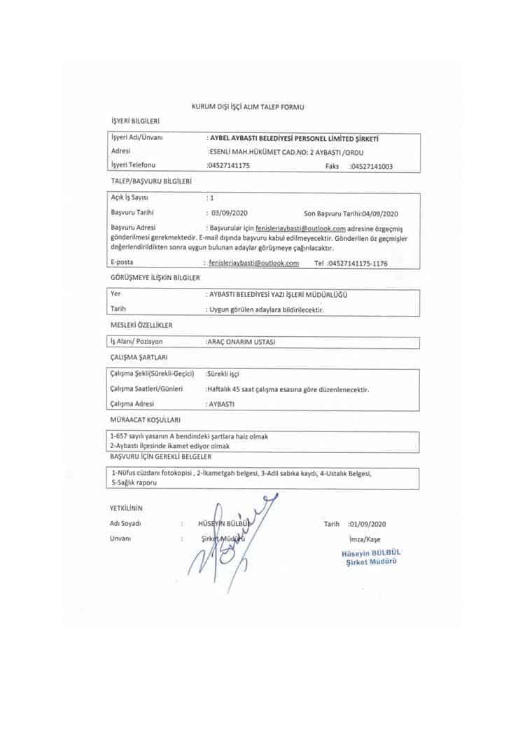 Aybastı Belediyesi araç onarım ustası ilanı