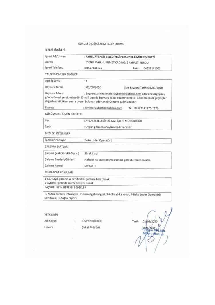Aybastı Belediyesi beko loder operatörü ilanı
