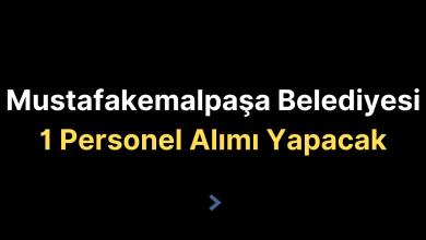 Mustafakemalpaşa Belediyesi 1 Personel Alımı Yapacak